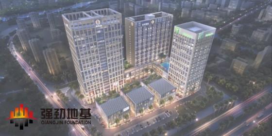 智能植桩+鱼腹式钢支撑:佛山箭牌总部大厦项目(基坑深13.6m,桩长32m)
